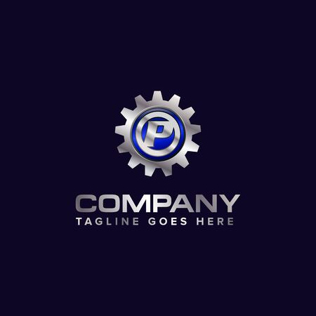 Letter P gear vector template logo. This Design is suitable for technology, industrial or automotive. Gradient. Gray. Reklamní fotografie - 129612656