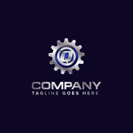 Letter Q gear vector template logo. This Design is suitable for technology, industrial or automotive. Gradient. Gray. Reklamní fotografie - 129612652