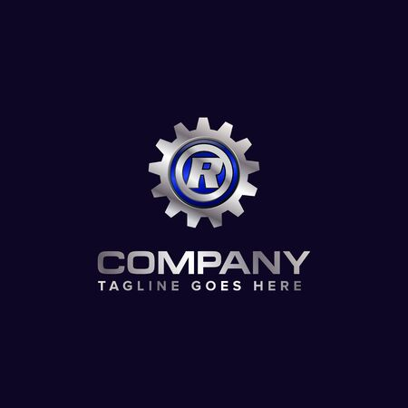 Letter R gear vector template logo. This Design is suitable for technology, industrial or automotive. Gradient. Gray.