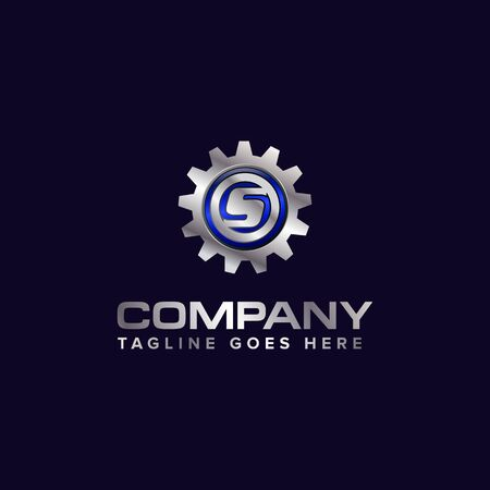 Letter S gear vector template logo. This Design is suitable for technology, industrial or automotive. Gradient. Gray. Ilustrace