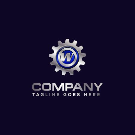 Letter W gear vector template logo. This Design is suitable for technology, industrial or automotive. Gradient. Gray.
