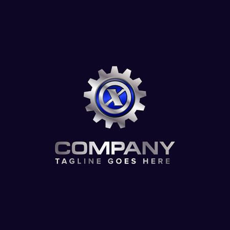 Letter X gear vector template logo. This Design is suitable for technology, industrial or automotive. Gradient. Gray. Ilustrace