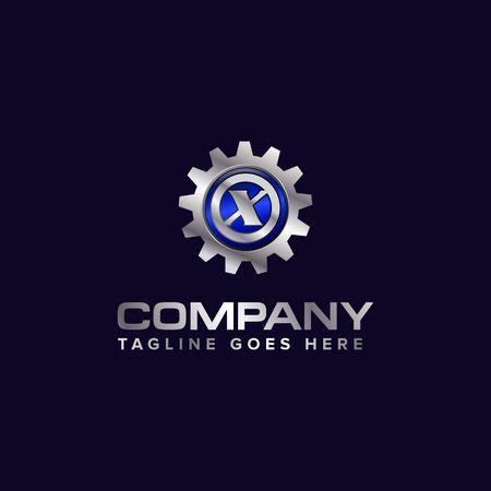 Letter X gear vector template logo. This Design is suitable for technology, industrial or automotive. Gradient. Gray. Illusztráció