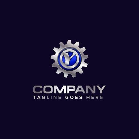 Letter Y gear vector template logo. This Design is suitable for technology, industrial or automotive. Gradient. Gray. Reklamní fotografie - 129613598