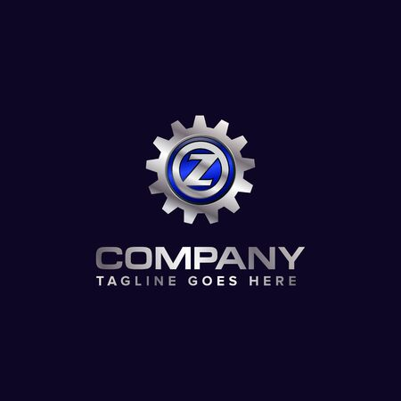Letter Z gear vector template logo. This Design is suitable for technology, industrial or automotive. Gradient. Gray.