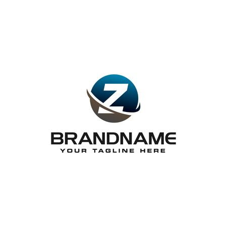 initial Z technology swoosh company letter logo design vector icon template