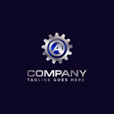 Letter A gear vector template logo. This Design is suitable for technology, industrial or automotive. Gradient. Gray. Ilustrace
