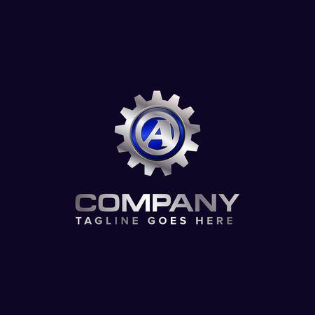 Letter A gear vector template logo. This Design is suitable for technology, industrial or automotive. Gradient. Gray. Illusztráció