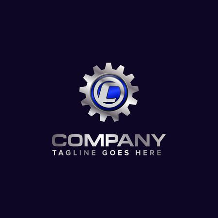 Letter C gear vector template logo. This Design is suitable for technology, industrial or automotive. Gradient. Gray.