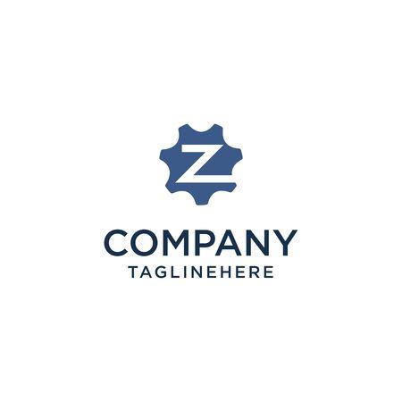 Z logo initial letter design template vector inside gear shape design concept
