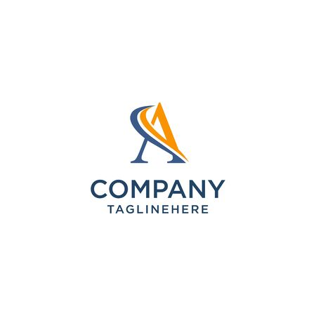 letter A luxury swoosh corporate logo design concept template