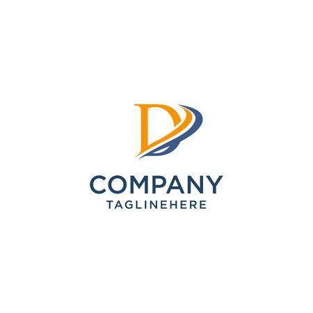letter D luxury swoosh corporate logo design concept template