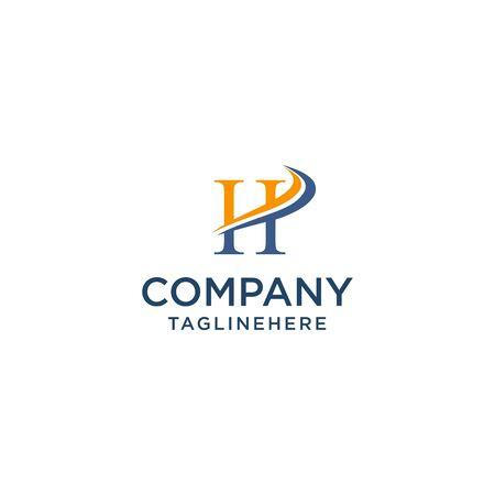 letter H luxury swoosh corporate logo design concept template