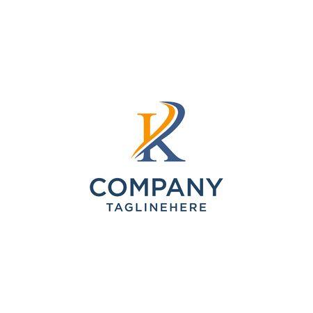letter K luxury swoosh corporate logo design concept template Ilustrace