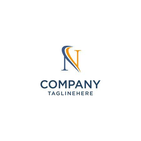 letter N luxury swoosh corporate logo design concept template
