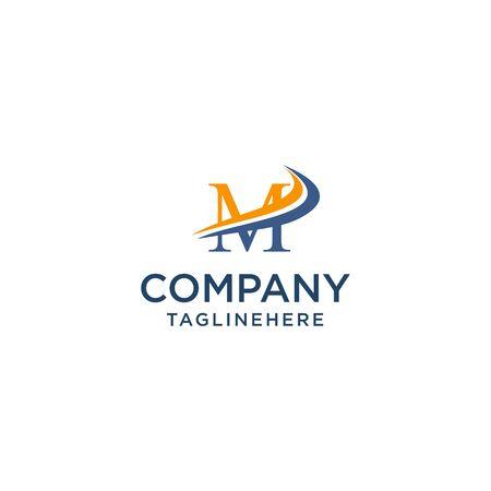 letter M luxury swoosh corporate logo design concept template