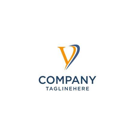letter V luxury swoosh corporate logo design concept template