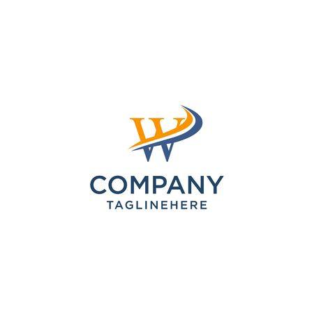 letter W luxury swoosh corporate logo design concept template Ilustrace