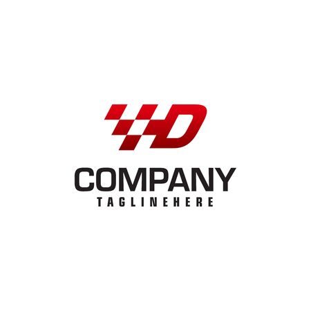 Auto speed letter D logo template vector illustration
