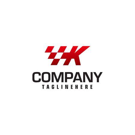 Auto speed letter K logo template vector illustration