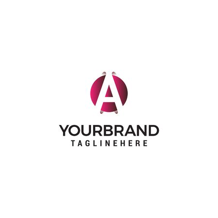 letter A in circle shape logo design concept template