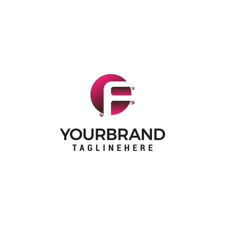 letter F in circle shape logo design concept template