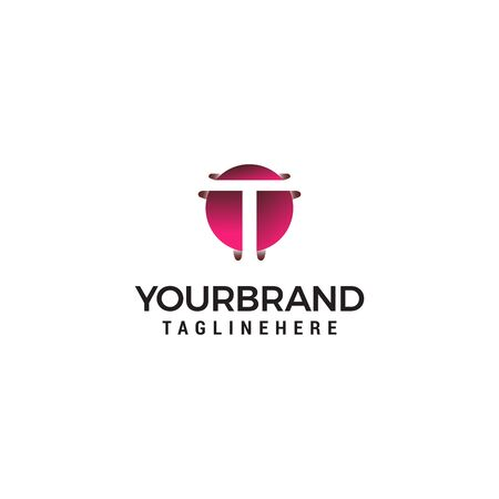 letter T in circle shape logo design concept template