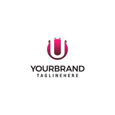 letter U in circle shape logo design concept template Ilustrace