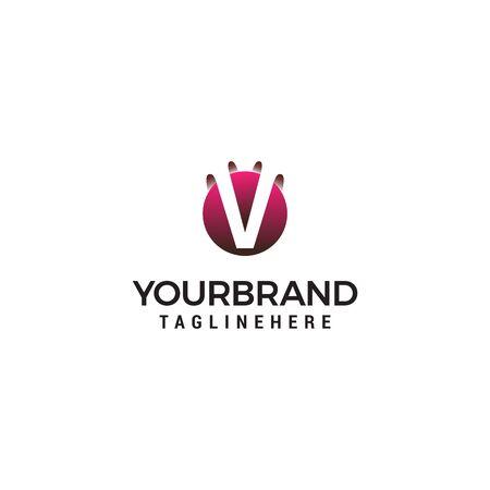 letter V in circle shape logo design concept template Ilustrace
