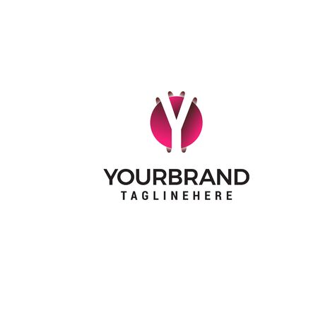 letter Y in circle shape logo design concept template