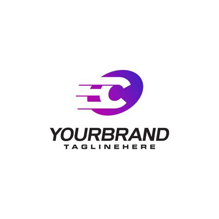 Abstract letter C logo with fast speed lines fast speed moving delivery concept design