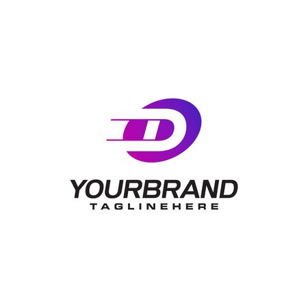 Abstract letter D logo with fast speed lines fast speed moving delivery concept design