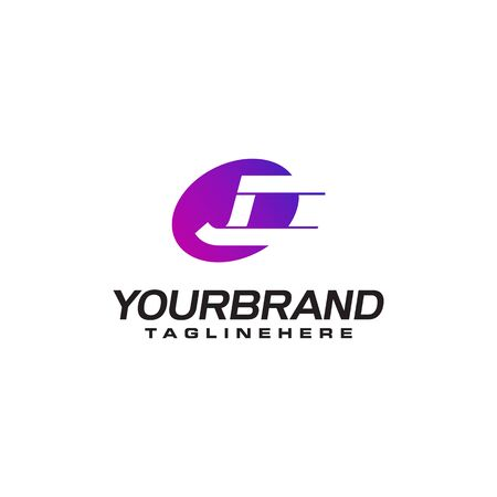 Abstract letter J logo with fast speed lines fast speed moving delivery concept design Illustration