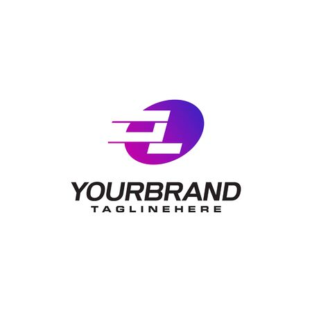 Abstract letter L logo with fast speed lines fast speed moving delivery concept design Ilustrace