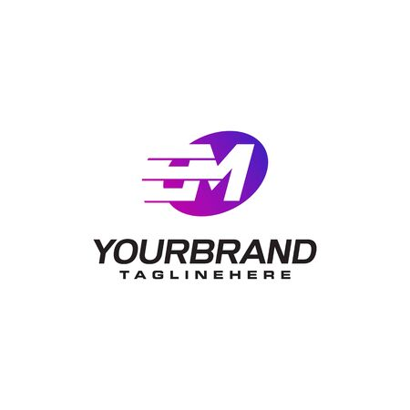 Abstract letter M logo with fast speed lines fast speed moving delivery concept design
