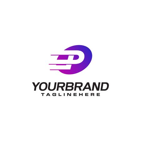 Abstract letter P logo with fast speed lines fast speed moving delivery concept design