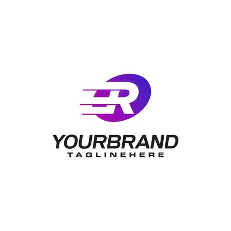 Abstract letter R logo with fast speed lines fast speed moving delivery concept design