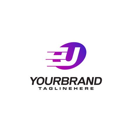 Abstract letter U logo with fast speed lines fast speed moving delivery concept design