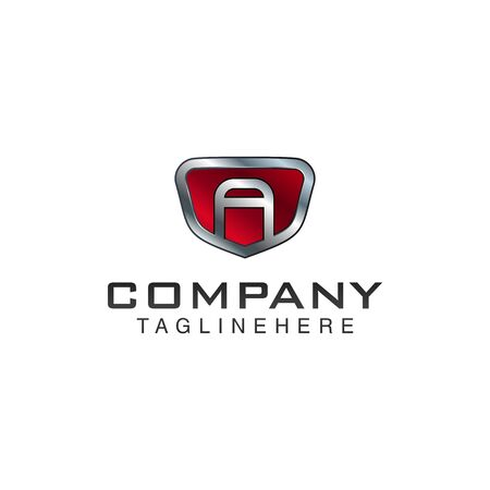 A Letter shield vector logo template. Black and red color. This alphabet or font symbol suitable for protection business or automotive