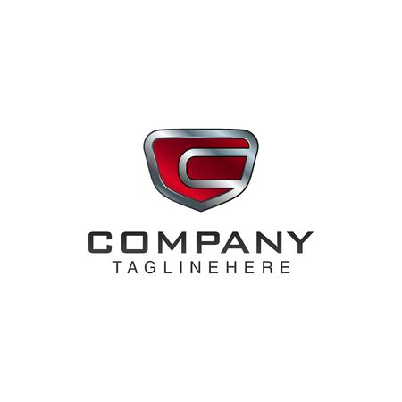 C Letter shield vector logo template. Black and red color. This alphabet or font symbol suitable for protection business or automotive 向量圖像