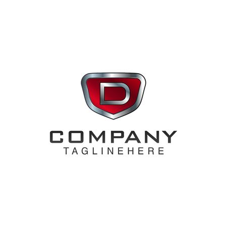 D Letter shield vector logo template. Black and red color. This alphabet or font symbol suitable for protection business or automotive 向量圖像