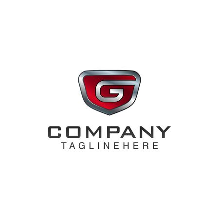G Letter shield vector logo template. Black and red color. This alphabet or font symbol suitable for protection business or automotive Ilustração