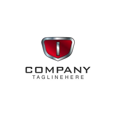 I Letter shield vector logo template. Black and red color. This alphabet or font symbol suitable for protection business or automotive