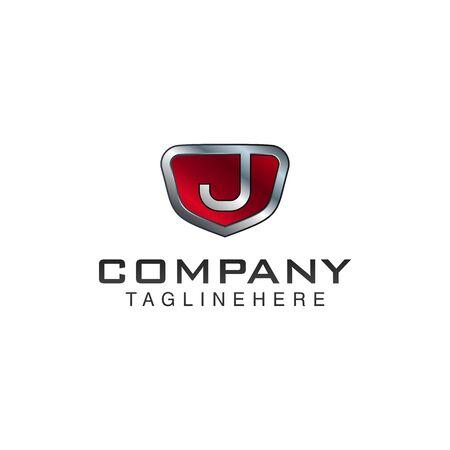 J Letter shield vector logo template. Black and red color. This alphabet or font symbol suitable for protection business or automotive Illusztráció
