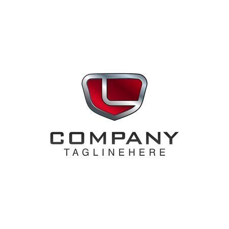 L Letter shield vector logo template. Black and red color. This alphabet or font symbol suitable for protection business or automotive