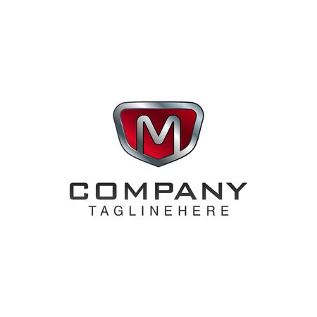 M Letter shield vector logo template. Black and red color. This alphabet or font symbol suitable for protection business or automotive