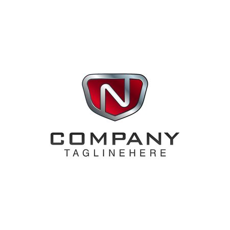 N Letter shield vector logo template. Black and red color. This alphabet or font symbol suitable for protection business or automotive Illusztráció