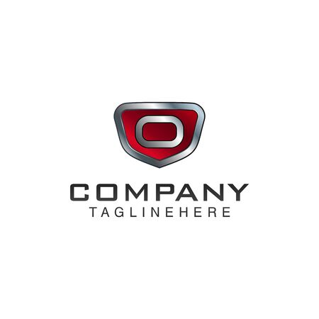 O Letter shield vector logo template. Black and red color. This alphabet or font symbol suitable for protection business or automotive
