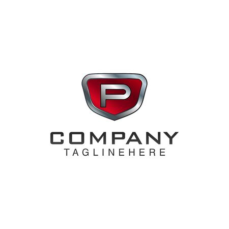 P Letter shield vector logo template. Black and red color. This alphabet or font symbol suitable for protection business or automotive