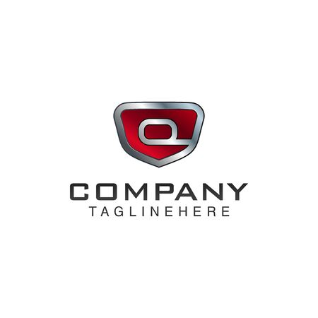 Q Letter shield vector logo template. Black and red color. This alphabet or font symbol suitable for protection business or automotive 向量圖像